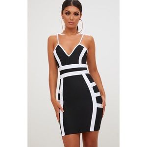 Dresses & Skirts - Black Contrast Detail Plunge Bandage Bodycon Dress